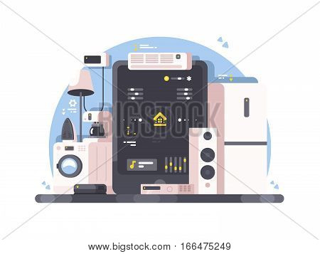 Smart home control using tablet. Washing machine, air conditioning and audio system. Vector illustration