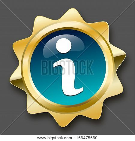 Service seal or icon with information symbol. Glossy golden seal or button.