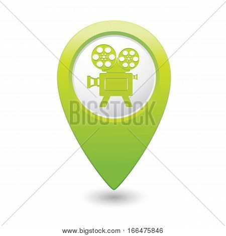 Map pointer with cinema icon. Vector illustration