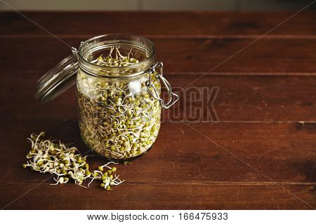 Many small soy bean sprouts inside big opened transparent glass jar isolated on side of wooden table, some sprouts are near, top view
