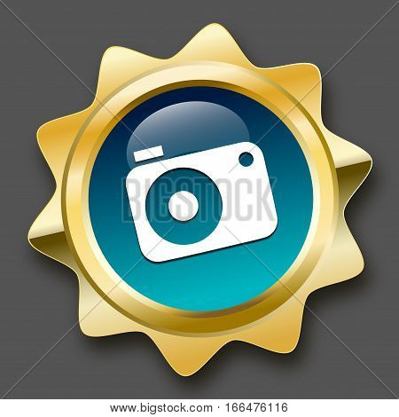 Photography seal or icon with camera symbol. Glossy golden seal or button.