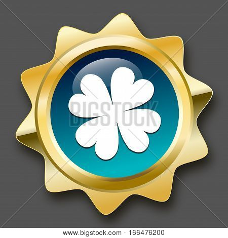 Luck seal or icon with clover symbol. Glossy golden seal or button.