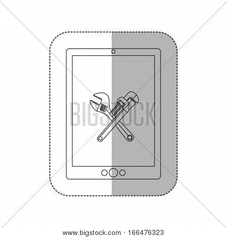 grayscale middle shadow sticker with tablet with crossed wrenches in display vector illustration