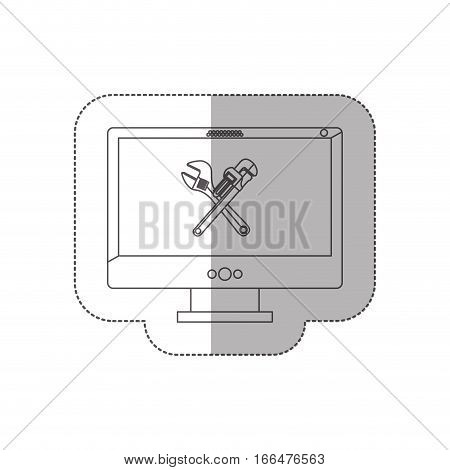 grayscale middle shadow sticker with desktop computer with crossed wrenches in display vector illustration
