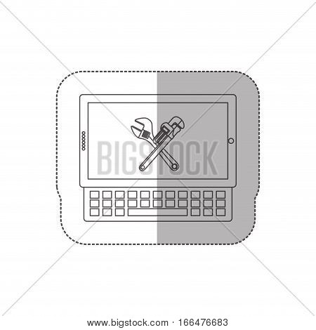 grayscale middle shadow sticker with tablet and keyboard with crossed wrenches in display vector illustration