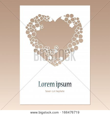 Card with openwork heart with flowers and space for text. Laser cutting template for greeting cards envelopes wedding invitations decorative elements.