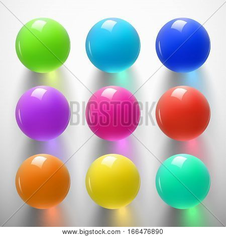 Set of glossy colored balls on white background. Glass sphere with shiny blik. Vector illustration.