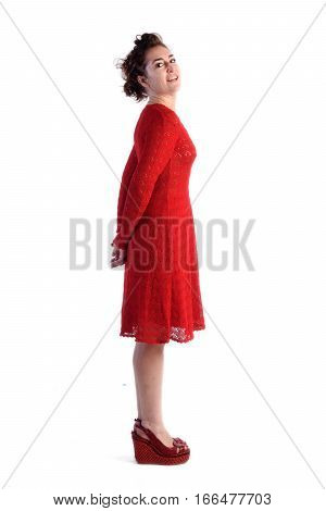 Full portrait woman in red on a white background