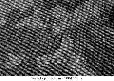 Camouflage Pattern Cloth Texture In Black And White