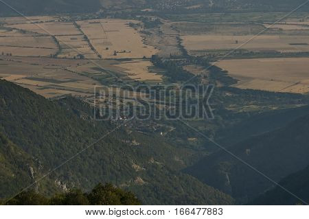 Mountain landscape at Central Balkan mountain, Beklemeto or Trojan pass, Stara Planiana, Bulgaria