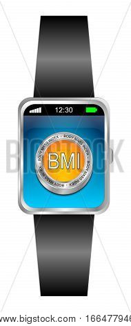 Smartwatch with BMI - Body Mass Index Button - 3D illustration