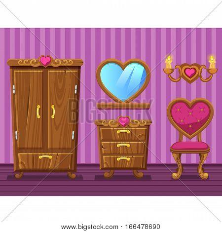 Set cartoon funny wooden Retro furniture, girlish pink Living room