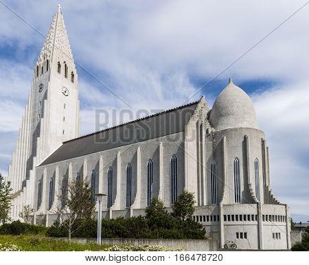 Hallgrimskirkja Church or Cathedral of Reykjavik on Iceland.