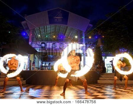 NADI FIJI - JAN 01 2017: Street Fire performance in Port Denarau Shopping Centre in Nadi Fiji.It is a very popular travel destination in Nadi Fiji.