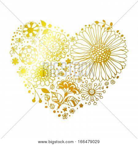 Golden Floral Heart