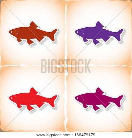 Fish ide. Flat sticker with shadow on old paper. Vector illustration