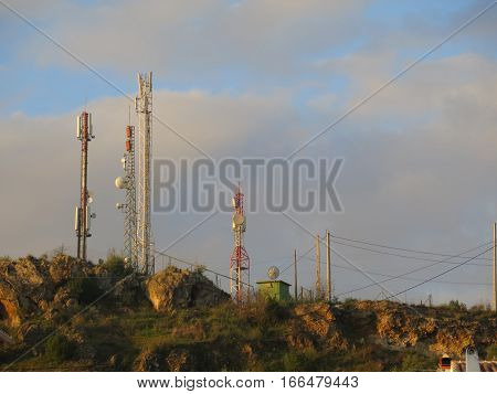 Radio communication relay station on cloudy day in Alora Andalucia