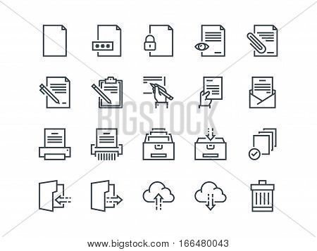 Document. Set of outline vector icons. Includes such as Printer, Shredder, Folder, Archive, Handwriting and more