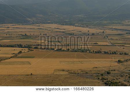 Beautiful view  of Karlovo valley between  Central Balkan mountain and Sredna gora mountain, Beklemeto or Trojan pass, Bulgaria