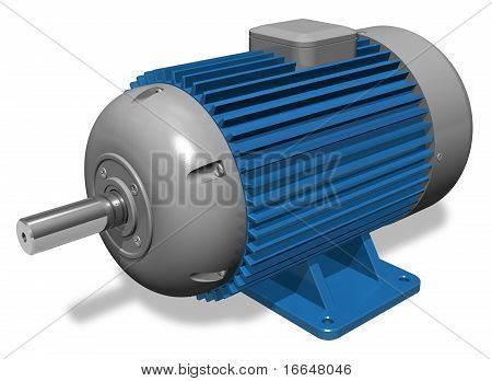 Powerful industrial asynchronous electric motor on white background poster