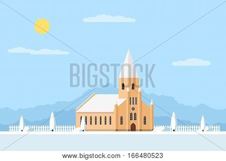 picture of a Roman-Catholic church with fence and trees, summer landscape, flat style illustration