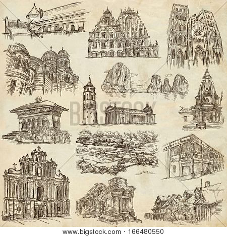 Architecture Buildings around the World. An hand drawn full sized illustrations. Collection of line art pictures. Drawing on old paper.