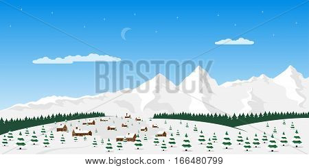Flat style winter village landscape with trees and mountains on background