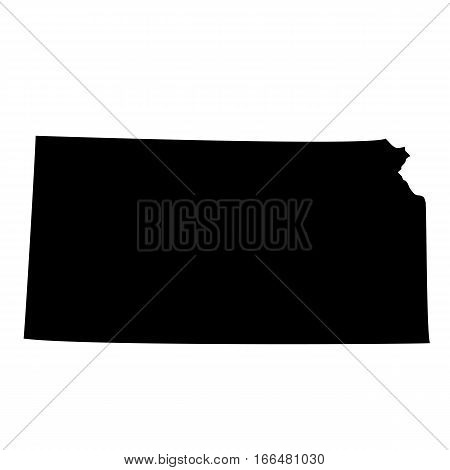 U.S. state Kansas black map on white background.