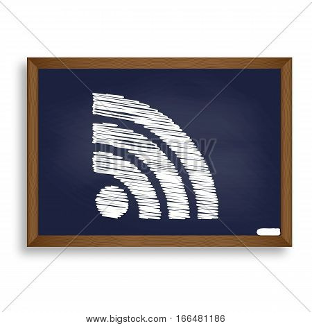 Rss Sign Illustration. White Chalk Icon On Blue School Board Wit