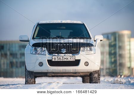 Khabarovsk, Russia - December 14, 2013: Suzuki Escudo stands in a snowy field