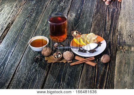 Glogg scandinavian mulled wine. Traditional christmas hot beverage. Honey lemon and cinnamon.