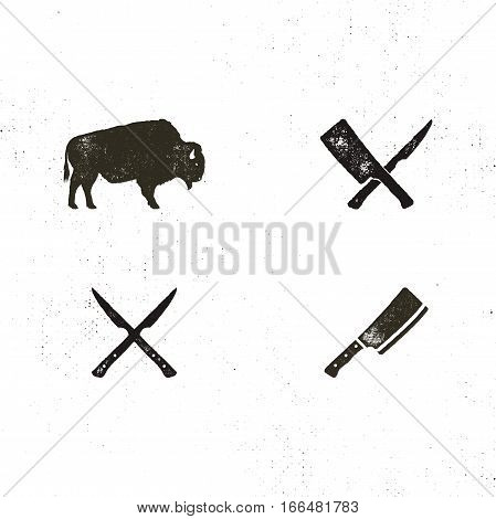 Steak House vintage Label. Typography letterpress design. Vector steak house retro logo. Included bbq grill symbols for customizing steak house badge. Black and white insignias isolated