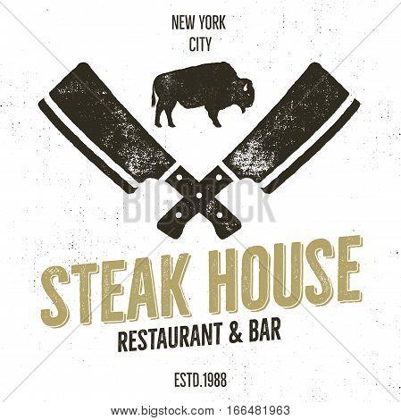 Steak House vintage Label. Typography letterpress design. Isolated on white.