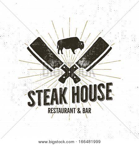 Steak House vintage Label. Typography letterpress design. With sunbursts, isolated on white.