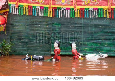 A common Vietnamese water puppetry show in country