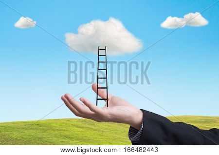 business hand with ladder conquer success on cloud. concept business leader creative.