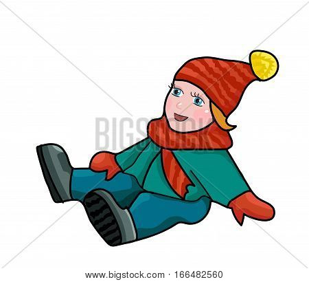 The baby in winter clothing fell. Slipped on the ice.