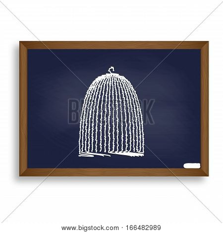 Bird Cage Sign. White Chalk Icon On Blue School Board With Shado
