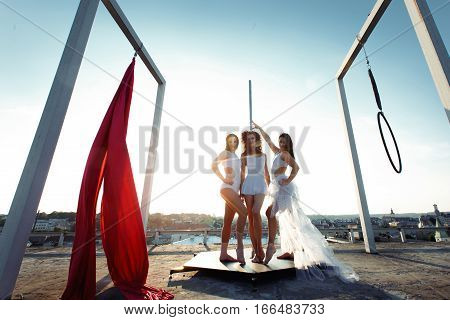 Athletic Aerial & Pole Dancers Posing On Rooftop At Sunrise