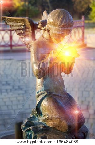 Monument of an angel in the autumn park Minsk Belarus.