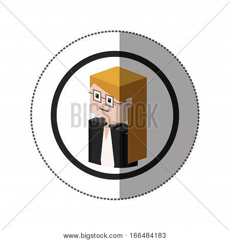 sticker lego with portrait female judge with glasses vector illustration