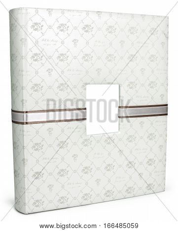 White leather photo album cover isolated floral ornament on white