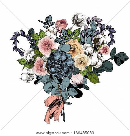 Vector flower arrangement. Wedding bouquet. English roses eucalyptus cotton and succulents. Hand drawn botanical art. Engraved vintage style. greeting card invitstion fashion business market