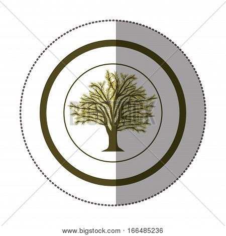 sticker circular with tree with ramifications and leaf vector illustration
