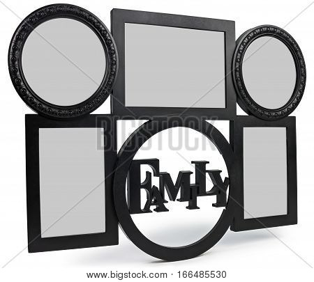 Hanging Photo Frame consists of three frames the heart and the text Family.