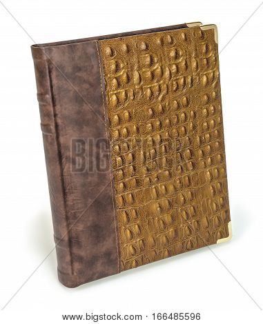 Brown eco leather snake photo album cover isolated white background