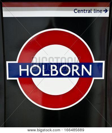 Holborn Tube Station Sign - London Underground Roundel