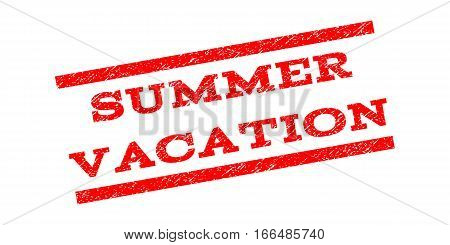 Summer Vacation watermark stamp. Text tag between parallel lines with grunge design style. Rubber seal stamp with unclean texture. Vector red color ink imprint on a white background.