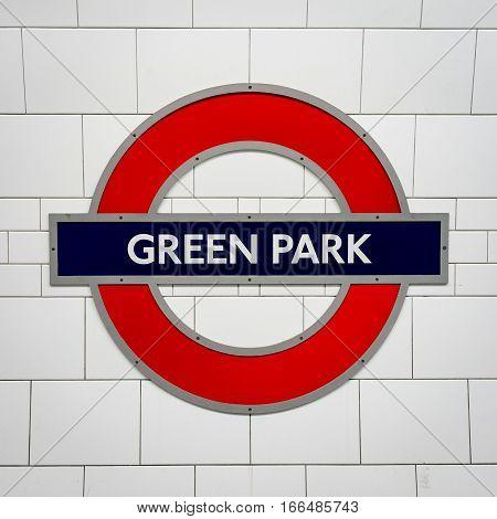 Green Park Tube Station Sign - London Underground Roundel