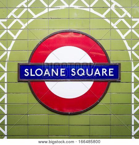 Sloane Square Tube Station Sign - London Underground Roundel